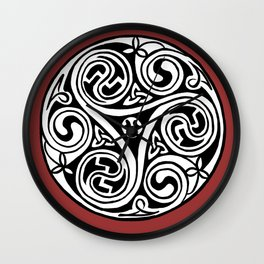 Celtic Art - Triskele - on Red Wall Clock