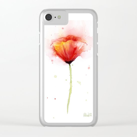 Poppy Flower Watercolor Abstract Red Floral Painting Clear iPhone Case