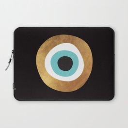 Gold Evil Eye 70s Bohemian Lucky Charm Nazar  Laptop Sleeve