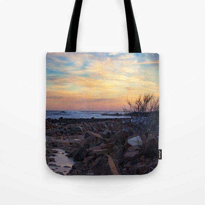 Winter Sunset at Bassrocks Tote Bag