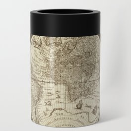 Antique world map with sail ships, sepia Can Cooler