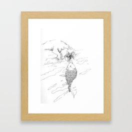 Dog And Fish Framed Art Print