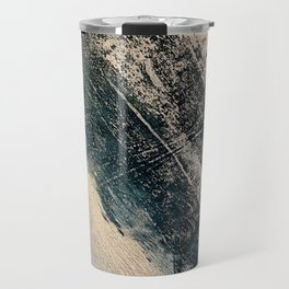 Honey 2: a pretty, minimal abstract mixed-media piece in blue, gold, and pink Travel Mug