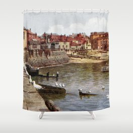 Aquarelle St Ives Cornwall Seagulls in the harbour Shower Curtain