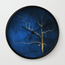 Kintsugi Electric Blue #blue #gold #kintsugi #japan #marble #watercolor #abstract Wall Clock
