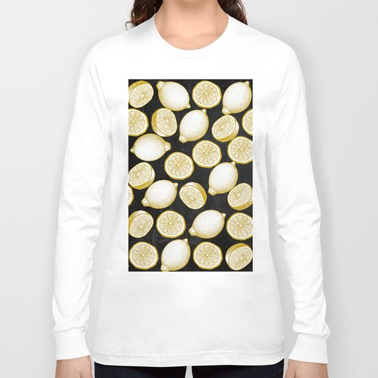 Lemons on black background Long Sleeve T-shirt