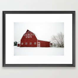 Snowy Red Barn Framed Art Print