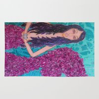 fitzgerald Area & Throw Rugs featuring Cordelia Fitzgerald the Mermaid by inara77