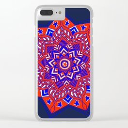 Red White and Blue Mandala star swirl Clear iPhone Case