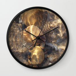 Shells in a Rock Pool at the Beach Wall Clock
