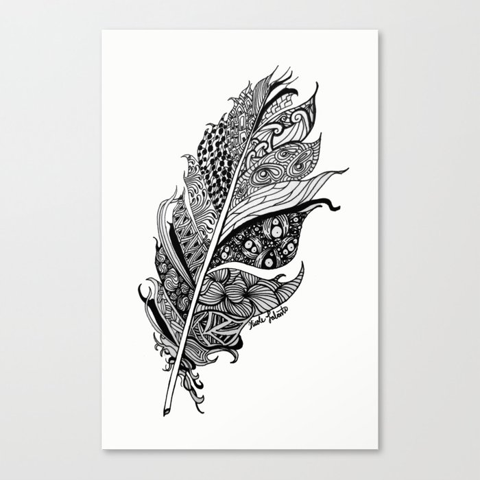 Feather Black and White 3 feathers Bird birds Zen Canvas Print