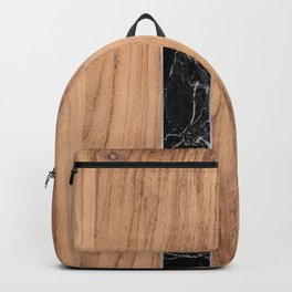 Wood Grain Stripes Black Granite #175 Backpack