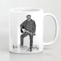 rock n roll Mugs featuring Rock 'N' Roll by The Curly Whirl Girly.