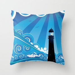 Blue stylized sea with big waves and lighthouse Throw Pillow