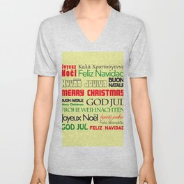 merry christmas in different languages I Unisex V-Neck