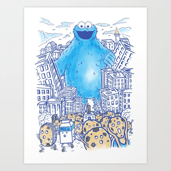 Monster in the city Art Print