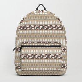 Boho . Beige woven textiles . Backpack
