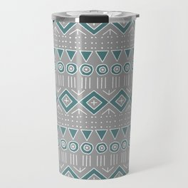 Mudcloth Style 2 in Gray and Teal Travel Mug
