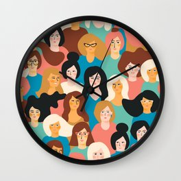 CUTE ALL-OVER WOMENS MARCH PATTERN Wall Clock