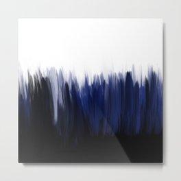 Modern blue cobalt black oil paint brushstrokes abstract Metal Print