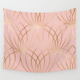 Rose gold millennial pink blooms Wall Tapestry