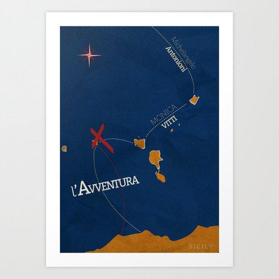 L'avventura, Monica Vitti, Michelangelo Antonioni, Italian cinema, film, Alternative Movie Poster Art Print