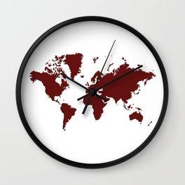 World with No Borders - burgundy Wall Clock
