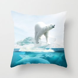 Polar Bear Island Throw Pillow