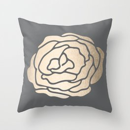 Rose in White Gold Sands on Storm Gray Throw Pillow