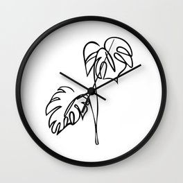 Palm Tree Line Sketch - Black and White Wall Clock