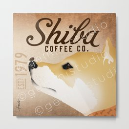 Shiba Inu Coffee Company dog artwork by Stephen Fowler Metal Print