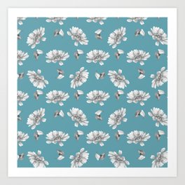 Hand painted gray white watercolor floral daisies Art Print