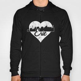 Retro Erie Pennsylvania Skyline Heart Distressed Hoody