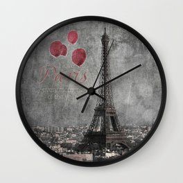 I love Paris {bw red balloons Wall Clock
