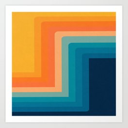 Retro 70s Color Lines Art Print
