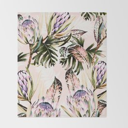 Flowering of proteas in nature Throw Blanket