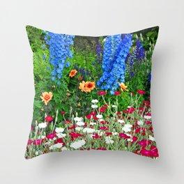 Blue Delphiniums Summer Flowers Throw Pillow