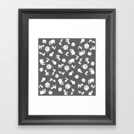 The Little Farm Animals, white on grey Framed Art Print