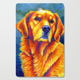 Colorful Golden Retriever Dog Portrait Cutting Board