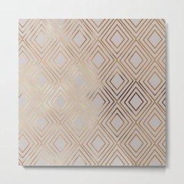 Modern elegant gray faux gold geometrical pattern Metal Print