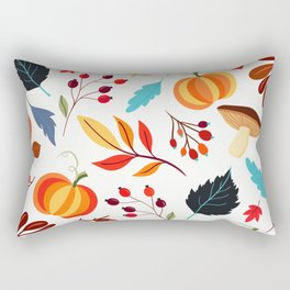 Fall and Halloween Leaves, Acorns, and Pumpkins Rectangular Pillow