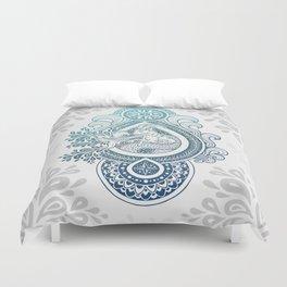 Paisley Capricornus | Turquoise Blue Ombré Duvet Cover