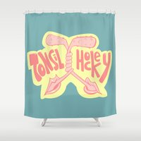hockey Shower Curtains featuring Tonsil Hockey by herogear