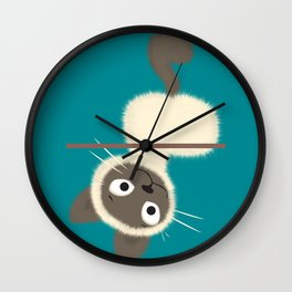 Funny Siamese Kitten upside down Wall Clock