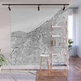 Cleveland White Map Wall Mural
