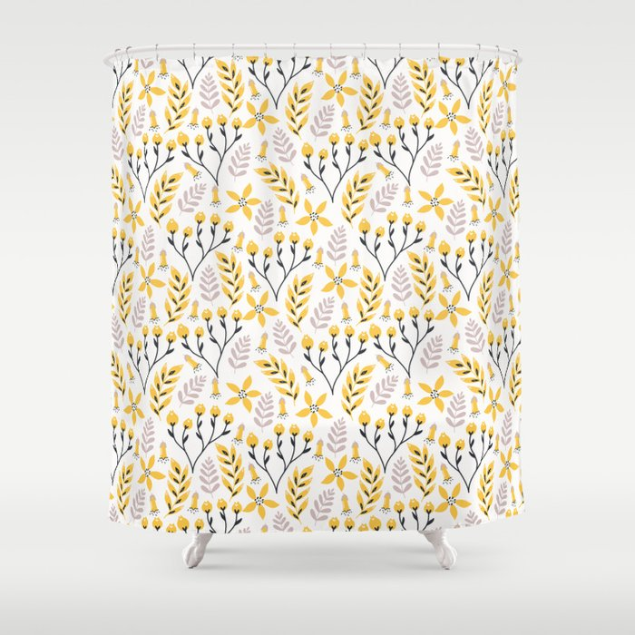 Mod Fl Yellow Gray Shower Curtain, Shower Curtains Gray And Yellow