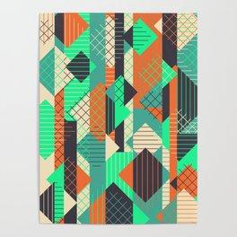 Squares Grids Stripes II (Modern Retro Color Palette) Poster