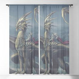 Stunning Amazing Warrior Riding Winged Fairytale Reptile Monster UHD Sheer Curtain