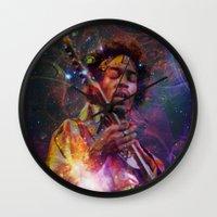 woodstock Wall Clocks featuring Woodstock Kiss the Sky by ZiggyChristenson