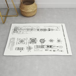 Soyuz Blueprint in High Resolution (white) Rug